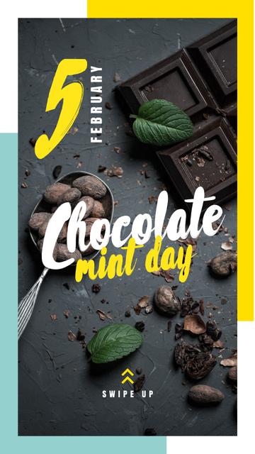 Designvorlage Mint chocolate pieces für Instagram Story