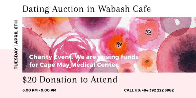 Designvorlage Dating Auction announcement on pink watercolor Flowers für Image