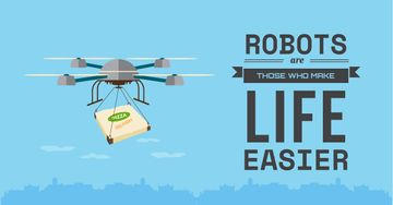 robots make life easier poster, innovation concept