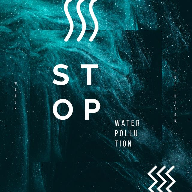 Water Pollution Concept Dark Paint Blots Instagram AD – шаблон для дизайна