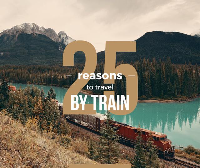 Szablon projektu Travelling by Train Railways in Nature Landscape Facebook