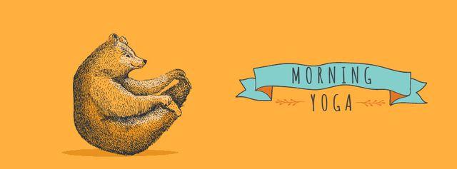 Modèle de visuel Yoga Class Announcement Bear Exercising - Facebook Video cover