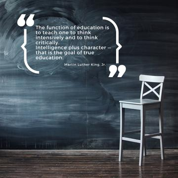 Chalkboard with empty chair and Motivational Quote