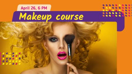 Makeup Course Ad Attractive Woman holding Brush FB event cover Design Template