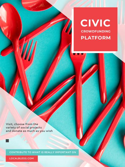 Ontwerpsjabloon van Poster US van Crowdfunding Platform Red Plastic Tableware