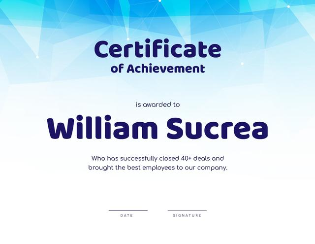 Ontwerpsjabloon van Certificate van Corporate Employee Achievement recognition