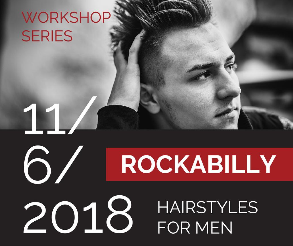 Workshop announcement Man with rockabilly hairstyle — Crear un diseño