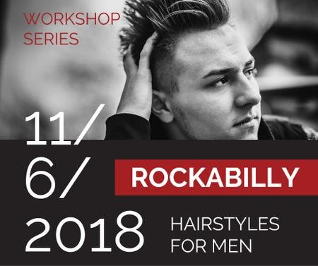 Ontwerpsjabloon van Facebook van Workshop announcement Man with rockabilly hairstyle