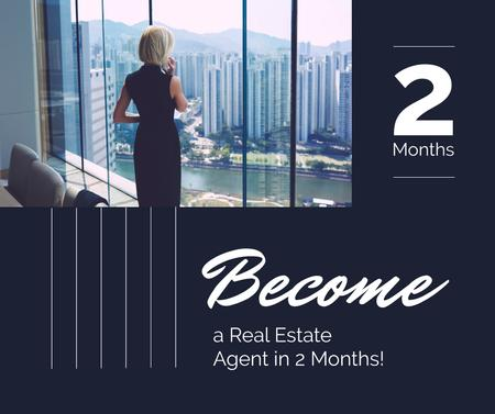 Template di design Real Estate Agent Talking on Phone Facebook