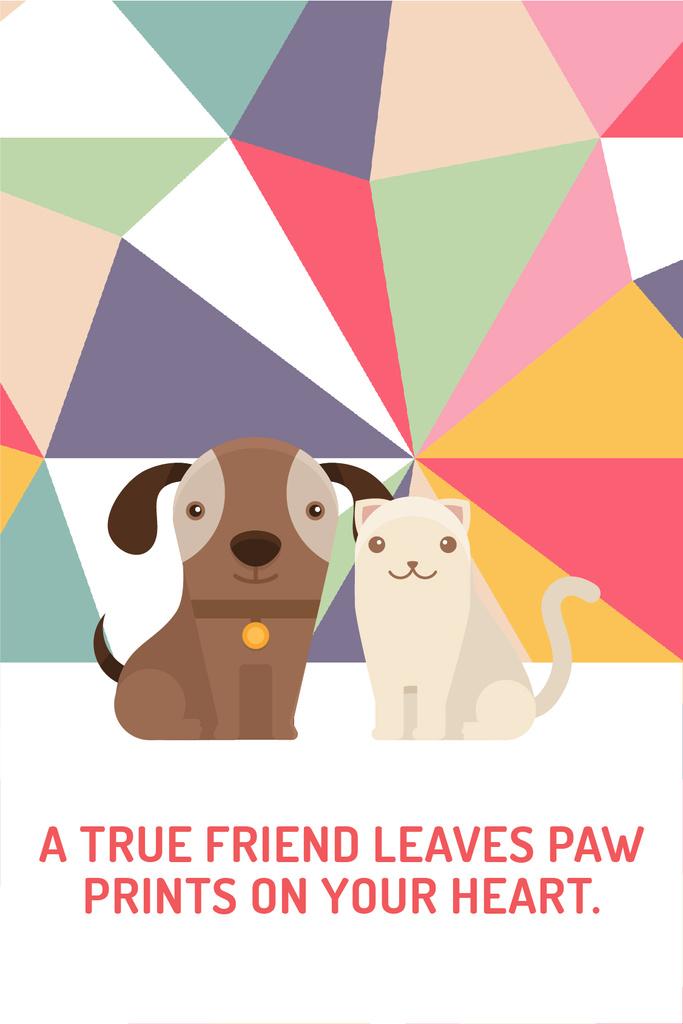 Pets Quote Cute Dog and Cat — Créer un visuel