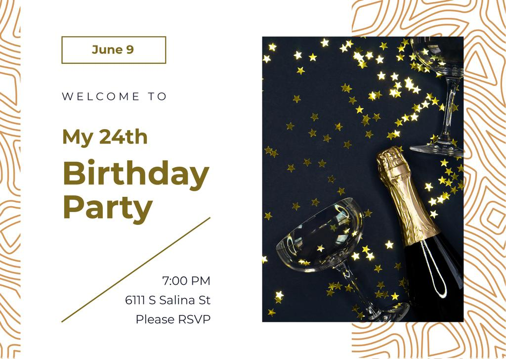 Birthday Party Invitation Confetti and Champagne Bottle Cardデザインテンプレート