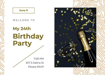 Ontwerpsjabloon van Card van Birthday Party Invitation Confetti and Champagne Bottle