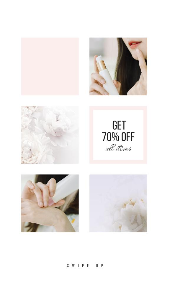 Beauty Products sale with young Woman — Crea un design