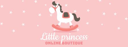 Ontwerpsjabloon van Facebook Video cover van Kids' Store ad with Rocking Horse toy