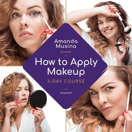 Plantilla de diseño de Beauty Courses Beautician Applying Makeup Instagram