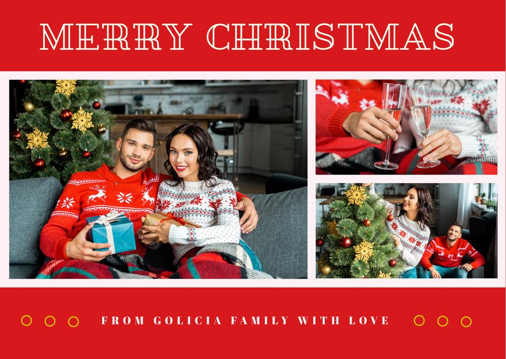 Merry Christmas Greeting Couple by Fir Tree — Modelo de projeto