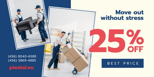 Moving Services Ad with Furniture Movers in Uniform Twitterデザインテンプレート