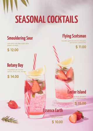 Seasonal Summer Cocktail with Strawberries Menu Modelo de Design