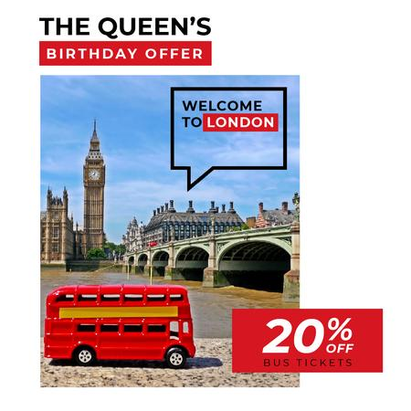 Plantilla de diseño de Queen's Birthday London Tour Offer Animated Post