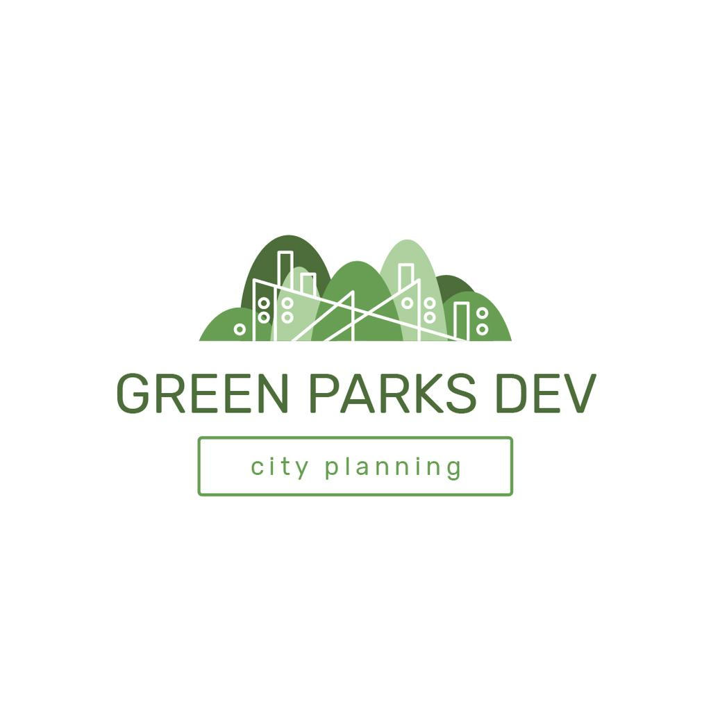 City Park with Trees in Green Logo Design Template