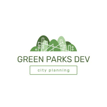 City Park with Trees in Green Logo Modelo de Design