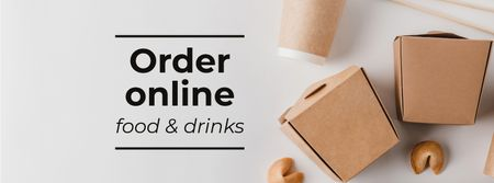 Modèle de visuel Delivery Services offer with Noodles in box - Facebook cover