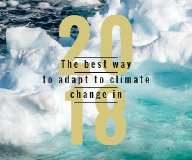 Climate Change Ice Melting in Ocean Medium Rectangleデザインテンプレート