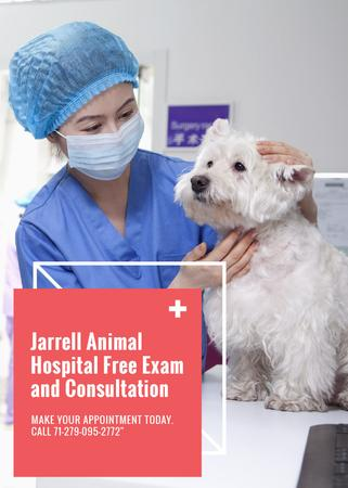 Template di design Vet Clinic Ad Doctor Holding Dog Flayer