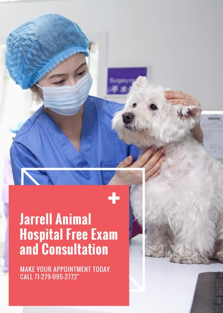 Vet Clinic Ad Doctor Holding Dog Flayer Modelo de Design
