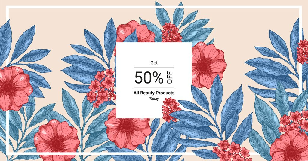Beauty Products Offer Line Frame with Flowers Facebook AD Design Template