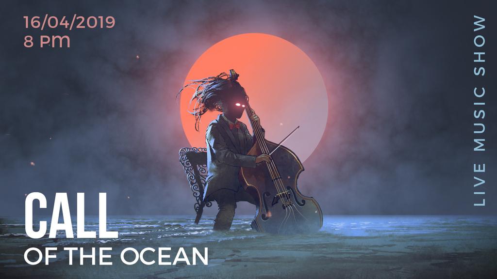 Musician with glowing eyes playing cello  — ein Design erstellen