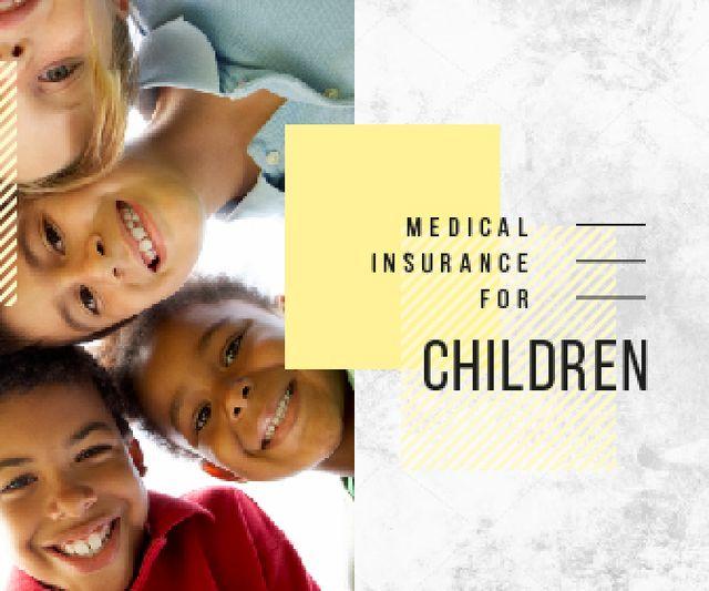 Plantilla de diseño de Insurance for Children Happy Kids in Circle Large Rectangle