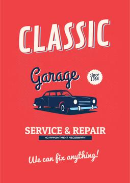 Garage Services Ad Vintage Car in Red | Poster Template