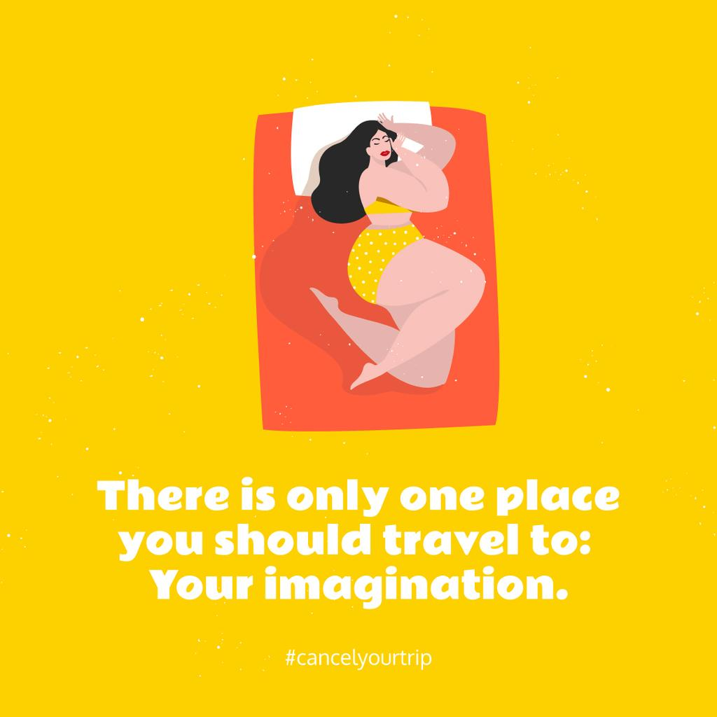 Stay Home concept with Woman Resting in Bed — Crear un diseño