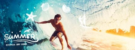 Designvorlage Man surfing in barrel wave für Facebook Video cover