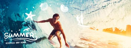 Man surfing in barrel wave Facebook Video cover Tasarım Şablonu