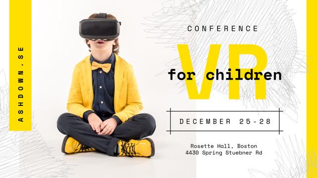 Tech Conference Kid in VR Glasses FB event cover Modelo de Design