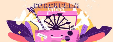 Ontwerpsjabloon van Facebook Video cover van Coachella festival attributes in Pink