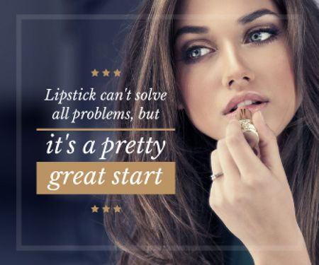 Ontwerpsjabloon van Large Rectangle van Lipstick Quote Woman Applying Makeup