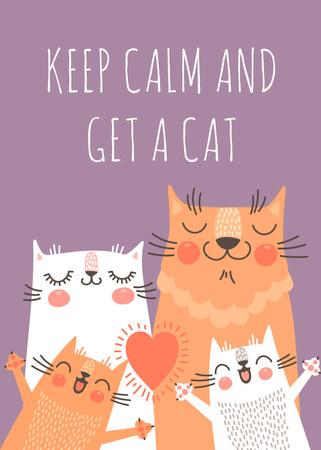 Plantilla de diseño de Adoption inspiration Funny Cat family Flayer