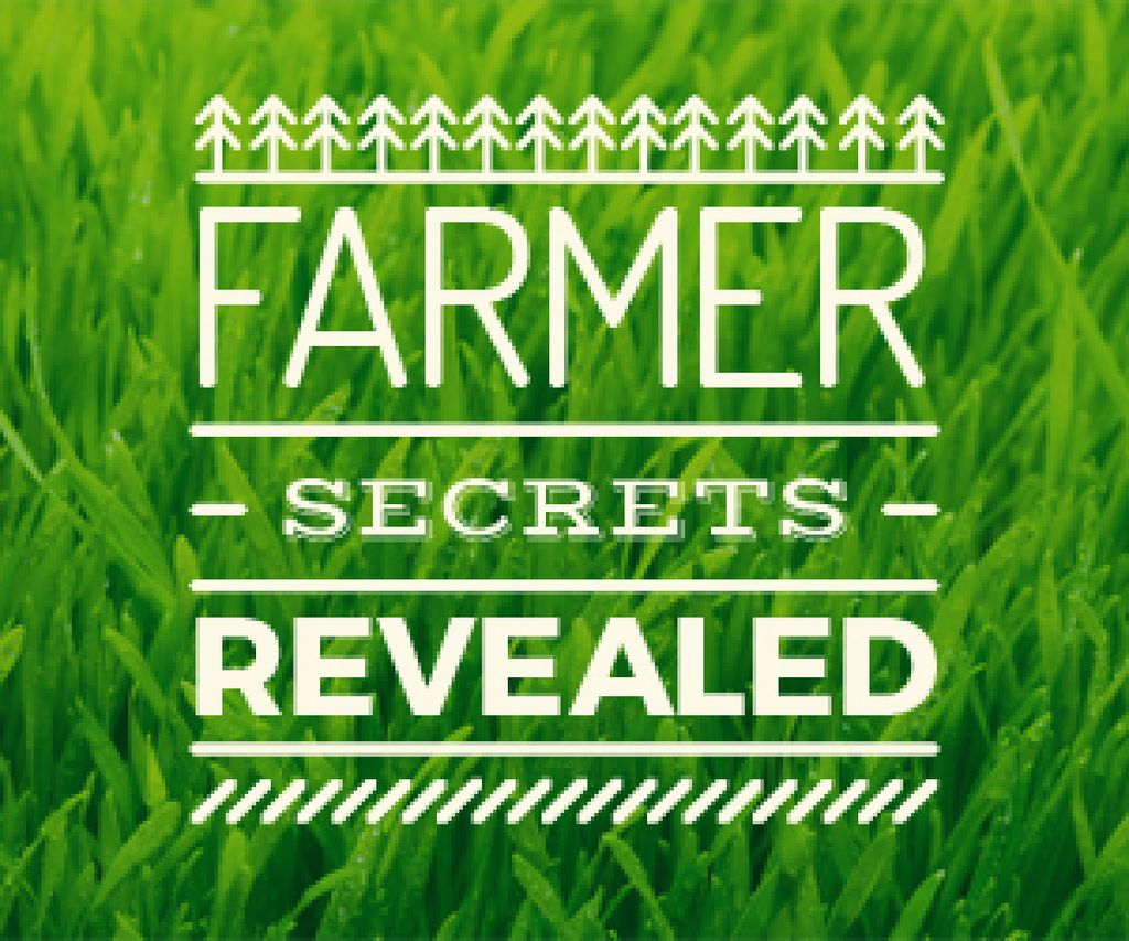 farmer secrets revealed poster on green grass background — Créer un visuel