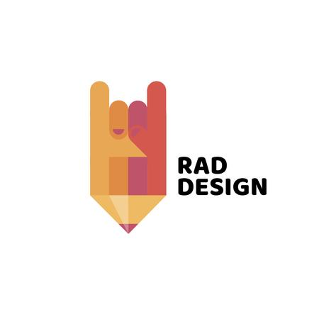Design Studio Ad with Pencil and Rock Sign Logo – шаблон для дизайну