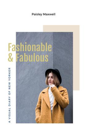 Ontwerpsjabloon van Book Cover van Stylish woman in winter clothes