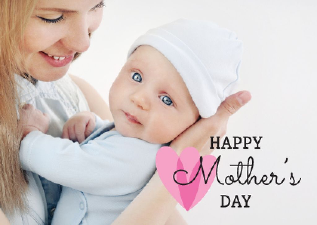 Mother's Day Greeting with Mom holding Child — Maak een ontwerp