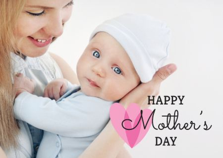 Template di design Mother's Day Greeting with Mom holding Child Card