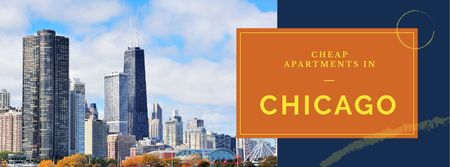 Apartments Offer with Chicago city view Facebook cover Modelo de Design