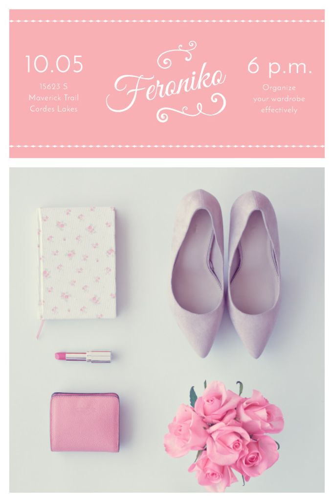 Fashion Event Announcement Pink Outfit Flat Lay | Tumblr Graphics Template — Créer un visuel