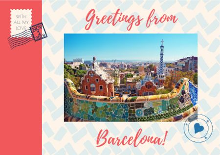 Barcelona Tour Offer with City View Postcard Design Template