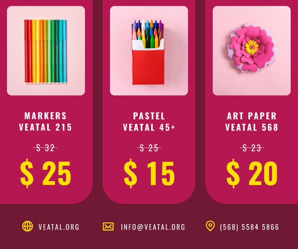 Art Supplies Sale Colorful Pencils and Paper — Maak een ontwerp