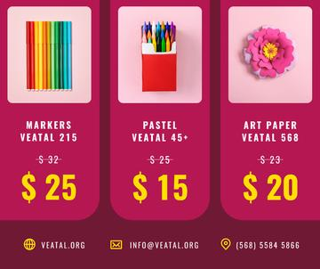Art equipment and Stationery sale in pink